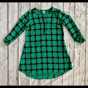 Merona Black and Green Button Down Dress